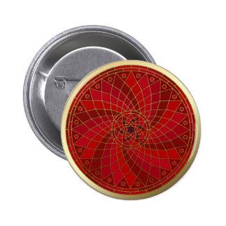 Botón de la mandala del accesorio de oro del remol pin redondo de 2 pulgadas