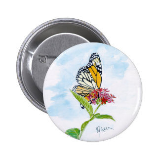 Botón de la mariposa de monarca pin redondo de 2 pulgadas