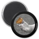 Botón de la mariposa iman de frigorífico