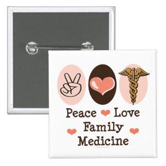 Botón de la medicina de familia del amor de la paz