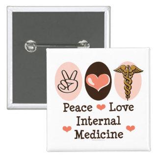 Botón de la medicina interna del amor de la paz pin