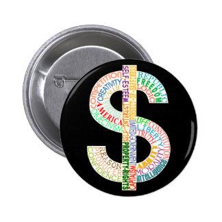 Botón de la muestra de dólar pin
