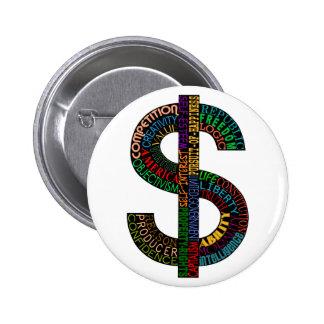 Botón de la muestra de dólar pins