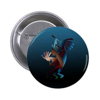 Botón de la música de la flauta de Kokopelli Pin Redondo De 2 Pulgadas
