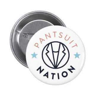 Botón de la nación del Pantsuit, blanco Pin Redondo De 2 Pulgadas