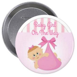 Botón de la niña pin redondo de 4 pulgadas