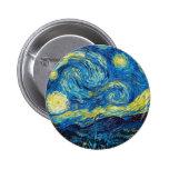 Botón de la noche estrellada de Van Gogh