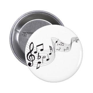 Botón de la nota musical pin redondo de 2 pulgadas