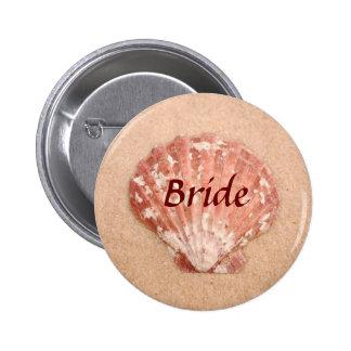 Botón de la novia del boda de playa pin redondo de 2 pulgadas
