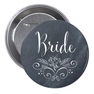 Botón de la novia del estilo de la pizarra pin redondo de 3 pulgadas