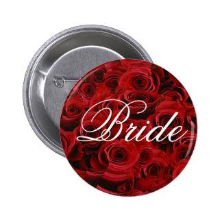 Botón de la novia del rosa rojo pin redondo de 2 pulgadas