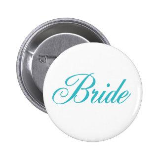 Botón de la novia en azul pins