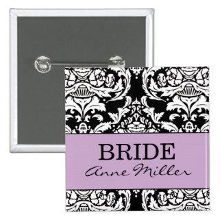 Botón de la novia pin cuadrado