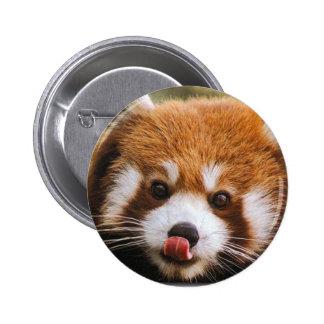Botón de la panda roja pin redondo de 2 pulgadas