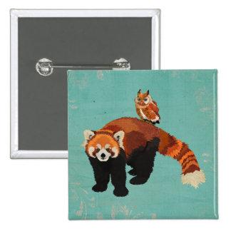 Botón de la panda roja y del búho chapa cuadrada 5 cm
