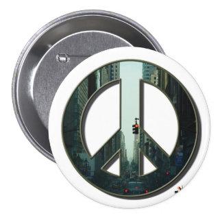 Botón de la paz de la avenida de Madison Pin Redondo De 3 Pulgadas