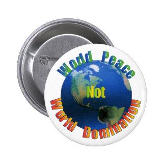 Botón de la paz de mundo pin redondo de 2 pulgadas