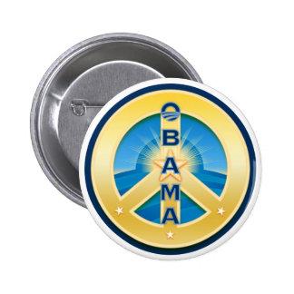 Botón de la paz de Obama Goldstar, redondo en blan Pins