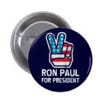Botón de la paz de Ron Paul Pin Redondo De 2 Pulgadas