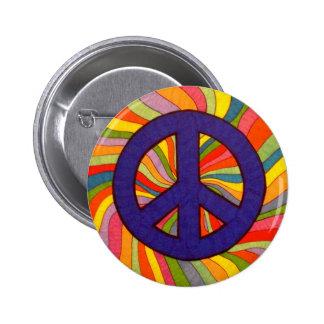 Botón de la paz de Swirly Pin Redondo De 2 Pulgadas