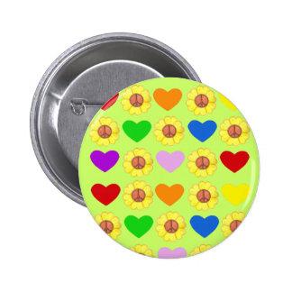 Botón de la paz del arco iris pin redondo de 2 pulgadas