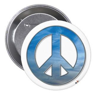 Botón de la paz del cielo azul pin redondo de 3 pulgadas
