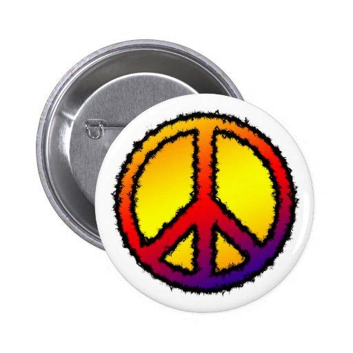 Botón de la paz del zigzag pin redondo de 2 pulgadas