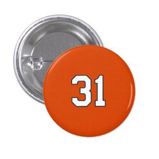 Botón de la perla con el número 31. pin redondo de 1 pulgada