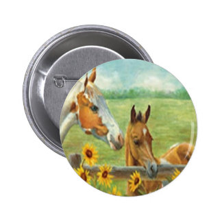 Botón de la pintura del caballo pin redondo de 2 pulgadas
