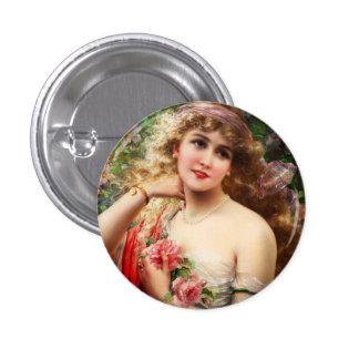 Botón de la primavera de Emilio Vernon Pin Redondo De 1 Pulgada