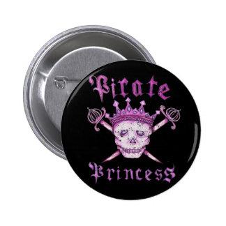 Botón de la princesa del pirata pin redondo de 2 pulgadas