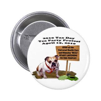 Botón de la protesta de la fiesta del té del día d pin redondo de 2 pulgadas