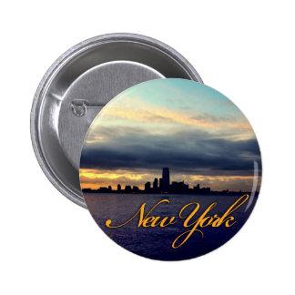Botón de la puesta del sol de la costa de Nueva Yo Pin Redondo De 2 Pulgadas