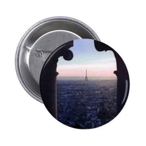 Botón de la puesta del sol de París Pin