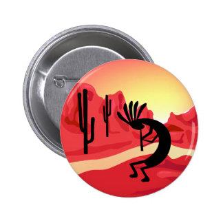 Botón de la puesta del sol del desierto de Kokopel Pin Redondo De 2 Pulgadas