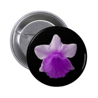 Botón de la púrpura del narciso del goteo pin redondo de 2 pulgadas