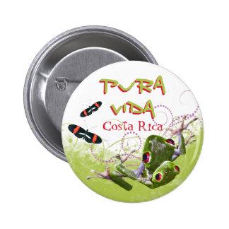 Botón de la rana arbórea de Rican Pura Vida de la Pin Redondo De 2 Pulgadas