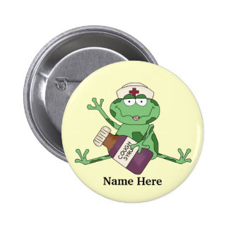 Botón de la rana de la enfermera pin redondo de 2 pulgadas
