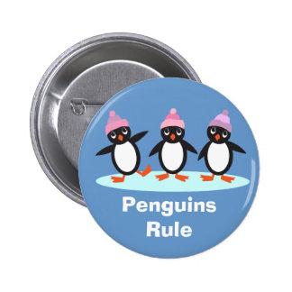 Botón de la regla de los pingüinos pin redondo de 2 pulgadas
