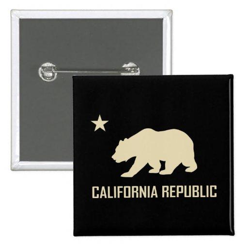 Botón de la república de California Pin Cuadrado