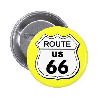 Botón de la ruta 66 pin redondo de 2 pulgadas