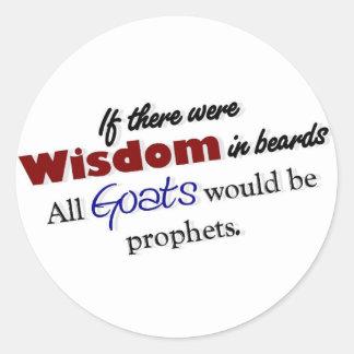 Botón de la sabiduría de la cabra pegatina redonda