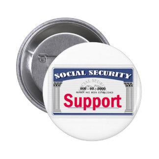 Botón de la Seguridad Social Pin Redondo De 2 Pulgadas