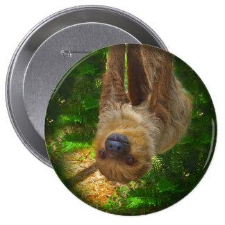 Botón de la selva tropical de la pereza pin redondo de 4 pulgadas