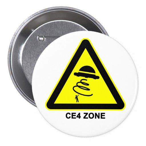 Botón de la señal de peligro de la zona del UFO CE Pins