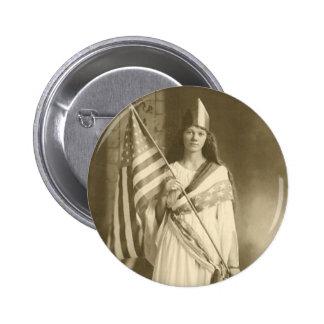 botón de la señora de la libertad del sufragio pin redondo de 2 pulgadas