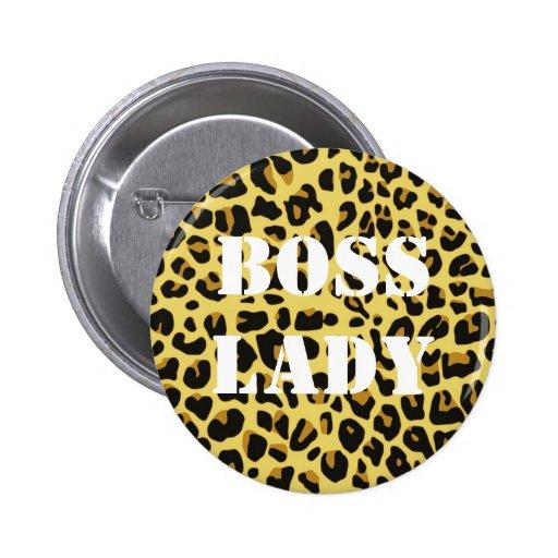 Botón de la señora estampado leopardo de Boss