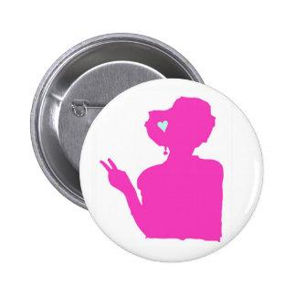 Botón de la señora rosada pin