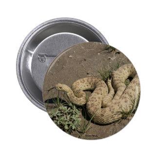 Botón de la serpiente de cascabel de pradera R0006 Pin Redondo De 2 Pulgadas