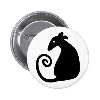 Botón de la silueta de la rata pin redondo de 2 pulgadas
